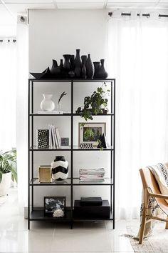 Glass Shelving Unit, Ikea Shelving Unit, Shelving Decor, Open Shelving, Display Shelves, Ikea Metal Shelves, Bookshelves Ikea, Bookshelf Styling, Asian Bookcases