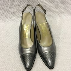Salvatore Ferragamo Heels Sz 7.5 AA Gray heels from Salvatore Ferragamo. These are a size 7 1/2 AA. These are in very good condition with very minimal wear. Salvatore Ferragamo Shoes Heels