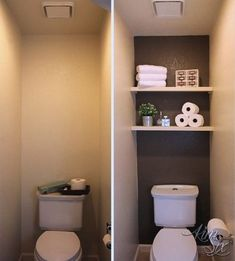 A dramatic water closet makeover with an accent wall and floating shelves for storage! So easy and inexpensive! A dramatic water closet makeover with an accent wall and floating shelves for storage! So easy and inexpensive! Toilet Closet, Ideas Baños, Nook Ideas, Small Bathroom Storage, Rv Bathroom, Toilet Storage, Master Bathroom, Bath Storage, Bathroom Ideas