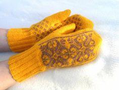 Wool mittens, warm mittens, wool gloves, scandinavian mittens, yellow mittens, snowflakes mittens, heart mittens, yellow brown mittens. $30.00, via Etsy.