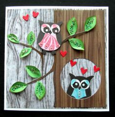 Hand made card with Owl punch and cup247928_1119 & cup7238 background papers