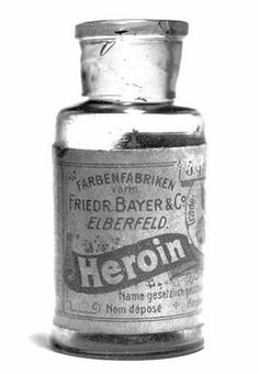 Heroin - by Bayer, the trusted name in pain relief. A bottle of Bayer's 'Heroin'. Between 1890 and 1910 heroin was sold as a non-addictive substitute for morphine... It was also used to treat children suffering with a strong cough