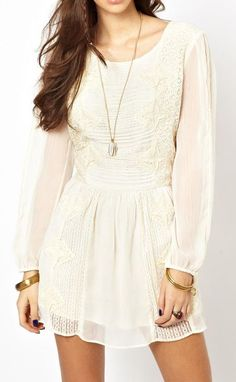 Free People Crinkle Leigh Dress in Lace in White (Ivory)