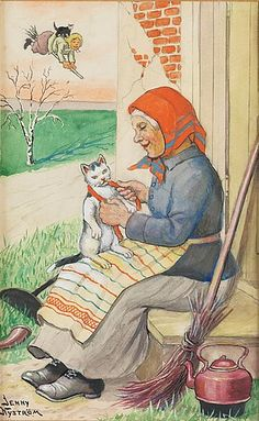 Jenny Nyström (Swedish, 1854-1946). Easter witch with cat...in Sweden they have EASTER WITCHES...WHAT!!?? Can we start that here in the U.S!!?????