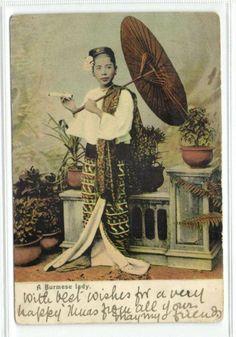 burma, Native Burmese Lady Smoking, Parasol (ca. 1899)