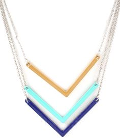 Part of our Celebrity Arrow Necklace Collection, blue-toned multi-layered necklace in gold chains.