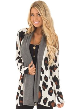 3d9a29ff5c Lime Lush Boutique - Cream Leopard Print Cardigan with Charcoal Edges
