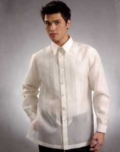 Men's Barong Cream Jusi fabric 100637 Cream variations in same fabric and same color Barong, Gq, Chef Jackets, Shirt Dress, Costumes, Cream, Fabric, Mens Tops, Runway