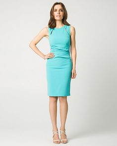 Double Weave Boat Neck Shift Dress - A boat neck with two slits brings timeless elegance to a double weave shift dress.