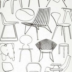 Pour les amoureux du design, ce papier peint est décoré des dessins de chaises emblématiques Papier peint Sitting Comfortably - Mini Moderns