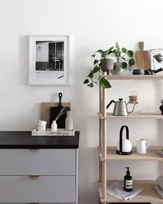A detailed shot of the wouddesign Elevate shelving in our kitchen I love the contrast of the soft oak wood with our black and grey kitchenwouddesign advertisement shelfie