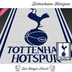 Tottenham Hotspur crochet blanket pattern; knitting, cross stitch graph; pdf download; no written counts or row-by-row instructions by TwoMagicPixels, $5.69 USD