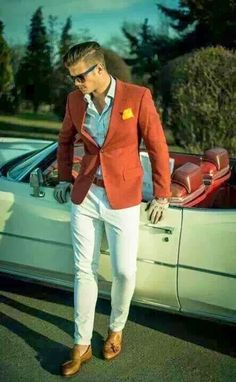 Summer style!! Cool and wonderfully elegant men's summer outfit! White shirt and pants with a sharp orange blazer! And a dash of yellow in the pocket square!