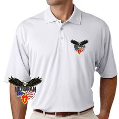 Grab a unique 25th Infantry Division w/Eagle Performance Polo Shirt today. These good looking polos will keep you cool as they are performance wicking, stain-resistant & offer UV Protection. Designed, Printed & Sublimated in the USA -Fabric Imported.