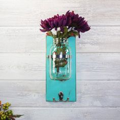 Large Quart Mason Jar Wall Flower Vase Double Hook- Key Holder-Vintage Patina-French Chic- Shabby- Country Decor- Choose Color on Etsy, $30.00 Home Spa Room, Spa Rooms, Facial Room, Esthetician Room, Quart Mason Jars, Vintage Shabby Chic, Shabby Chic Decor, Flower Wall, Flower Vases