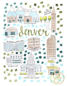 Evelyn Henson's map series is intended to help you celebrate all the places you love. Each map print is printed on high quality rag paper with archival inks. Travel Maps, Travel Posters, Denver Map, Evelyn Henson, Country Maps, City Maps, Cartography, Illustrations, Wall Art Prints