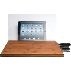 Cta Ipad Air & Ipad With Retina Display & Knife Storage Bamboo Cutting Board With Screen Shield