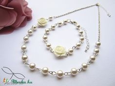 Meska - Rózsás esküvői szett Edina09 kézművestől Pearl Necklace, Pearls, Jewelry, Fashion, Moda, String Of Pearls, Bijoux, Jewlery