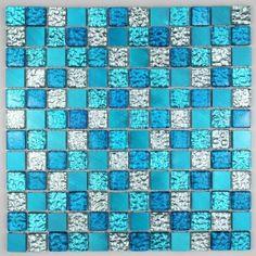 Galet sol et mur pour douche et salle de bain hima - Mosaique salle de bain bleu turquoise ...