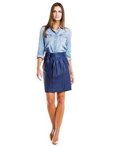 NWT $748 Elie Tahari Parker Leather Cobalt Bow Skirt, Size 6 #ElieTahari #Mini
