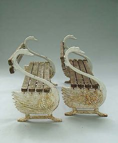PAIR SWAN BENCHES, CAST IRON AND WOOD, 19TH C.