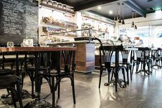 Antica Pizzeria– Hyde Park   Concept Collections   Morgan Timber dining chair is matched with Heritage Table Bases