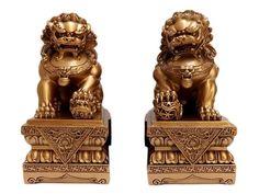 """Esculturas """"Leões Budistas"""" em Resina 23cm - Leões Fu - http://www.artesintonia.com.br/esculturas-leoes-budistas-em-resina-23cm-leoes-fu"""