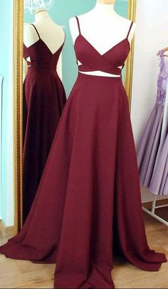 Straps Burgundy Long Prom Dress Evening Dress,MB 4