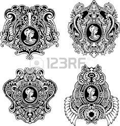 プロファイルの黒と白のイラストの女性の肖像画と装飾的な骨董品カメオの設定します。