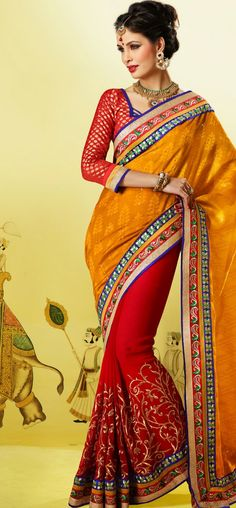 Delightful yellow and red jacquard saree: KSR2512