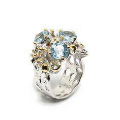 Ring mit himmelblauem Topaz Himmelblau, Topaz, Brooch, Jewellery, Sapphire, Schmuck, Stones, Silver, Ring