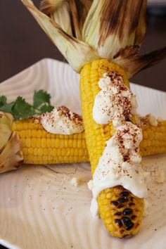 Ahhh, yes: the authentic elote asado, or Mexican grilled corn, a street food staple south of the border.