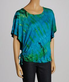 Look what I found on #zulily! Turquoise & Lime Tie-Dye Side-Tie Cape-Sleeve Top - Women by Jayli #zulilyfinds