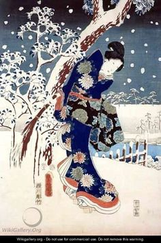 Snow Scene in the Garden of a Daimyo : Utagawa Hiroshige (aka Ando Hiroshige, aka Ichiyusai Hiroshige, Japanese, 1797–1858)