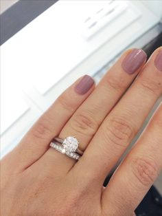 Plain solitaire engagement ring with channel set wedding band. yes