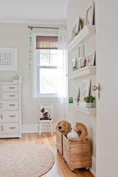 Love the wall color. Love the shelves on the wall. Wall color Old Prairie by Benjamin Moore. Nursery Paint Colors, Room Paint, Room Colors, Wall Colors, Nursery Neutral, Nursery Room, Baby Room, Girl Nursery, Kids Bedroom