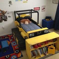 The best bed ever? What a cool DIY project for a dump truck bedroom! Truck Bedroom, Childrens Beds, Cool Beds, Kid Beds, Toddler Beds For Boys, Kids Furniture, Kids Bedroom, Dump Truck, Heavy Equipment