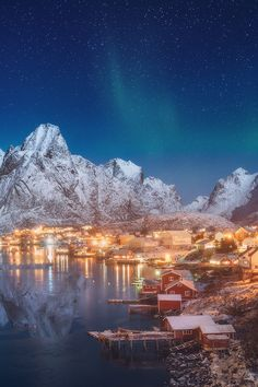 this shot seem to make this town of the north literally glow within the snowy hills .....  love it
