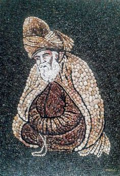 Mevlana, Doğal Taş Resim by Münteha Tuga | Gallerymak Pebble Mosaic, Mosaic Diy, Mosaic Crafts, Mosaic Tiles, Mosaic Designs, Mosaic Patterns, Seed Craft, Mirror Mosaic, Marble Art