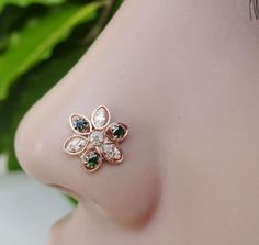 Sterling Silver,Nose Jewelry,Flower Nose Piercing,Crystal Stud,Medusa Nose Stud. #BodyJewelry