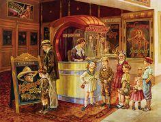 Saturday Matinee by Lee Dubin ~ retro vintage art ~ children grandpa movie theater