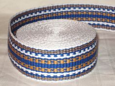 White royal blue and gold hand-woven inkle trim over by applegirl5