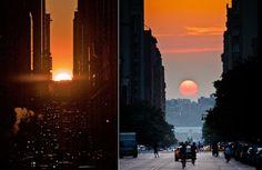"""In breve , Manhattanhenge è quando il tramonto si allinea perfettamente con la griglia della città . Questo accade due volte l'anno con un sole pieno , e due volte l'anno con mezza sole ogni quattro volte il sole illumina entrambi i lati nord e sud di ogni traversa della griglia del borgo. E 'il nostro Stonehenge , e deGrasse Tyson ha dichiarato di essere """" un fenomeno urbano unico al mondo , se non l'universo. """""""