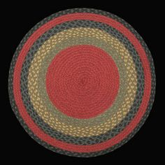 Round Braided Rugs | 238 Burgundy,Olive Green, Charcoal Braided Rug braided through.