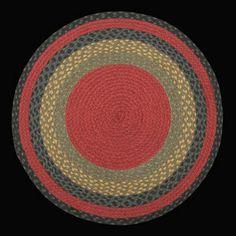 Round Braided Rugs | 238 Burgundy,Olive Green, Charcoal Braided Rug braided through.