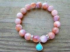 Beaded Bracelet, Coral, Lilac, Mountain Jade, Turquoise, Sterling Silver Pendant, Clear Crystal, Stretch Bracelet, Fashion Jewelry by BeJeweledByCandi, $41.00