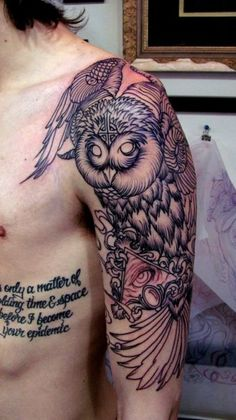 Owl Tattoo Designs - The Body is a Canvas Great Tattoos, Beautiful Tattoos, Body Art Tattoos, Tribal Tattoos, Sleeve Tattoos, Tatoos, Arm Tattoos, Crazy Tattoos, Amazing Tattoos