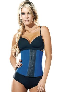 1b18a6c32c3 Plus Size Blue 9 Steel Bones Latex Under Bust Corset. Sport Waist TrainerBest  ...