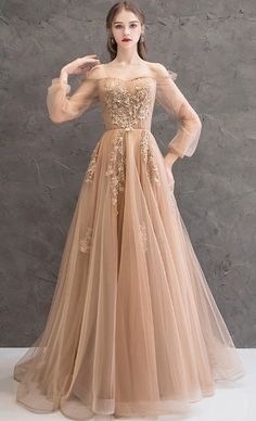 Champagne tulle beads long prom dress, champagne evening dress, Customized service and Rush order are available Champagne Evening Dress, Lace Evening Dresses, Elegant Dresses, Pretty Dresses, Beautiful Dresses, Unique Formal Dresses, Dress Formal, Applique Dress, Bridesmaid Dresses