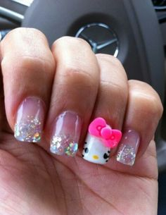 Hello kitty nails #beauty #nails